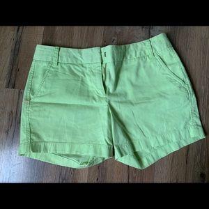 Jcrew lime green chino shorts